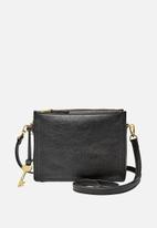Fossil - Campbell leather crossbody bag - black
