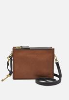 Fossil - Campbell leather crossbody bag - brown