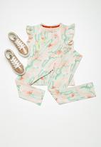 name it - Erine leggings - peach & green