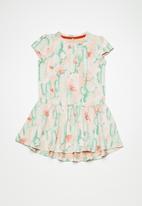 name it - Erine dress - peach & green