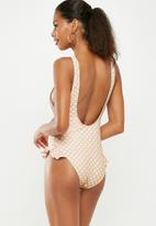 Missguided - Polka dot low side ruffle leg swimsuit - neutral