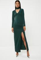Superbalist - Statement shoulder maxi dress - green