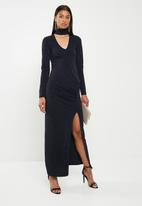 Superbalist - Statement shoulder maxi dress - navy