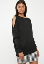 Superbalist - One shoulder knit top -  black