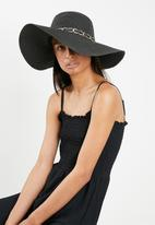 Missguided - Chain trim floppy hat - black