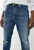 Only & Sons - Beam cropped damaged jeans - blue