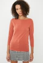 Cotton On - Everyday 3/4 sleeve boat neck top - tan