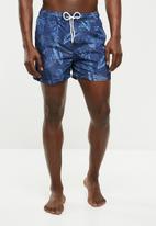 Jack & Jones - Sunset swim shorts print - navy