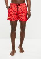 Jack & Jones - Sunset swim party shorts - red