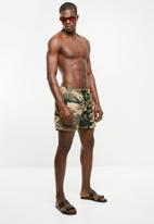 Jack & Jones - Sunset swim shorts print - green