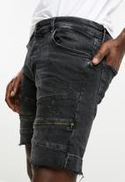 Jack & Jones - Rick zip biker denim shorts - black