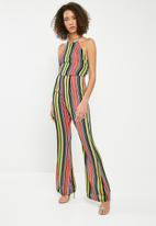 Missguided - Bright stripe 90s neck flared jumpsuits - multi
