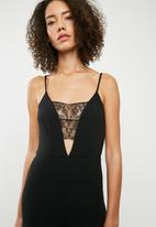 Missguided - Lace trim cami wide leg jumpsuit - black