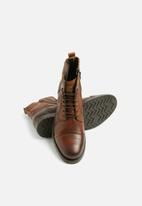 Jack & Jones - Russel leather military boot - tan