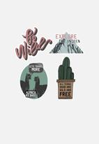 Escape Society - Adventure luggage personalisation sticker set of 4 - multi