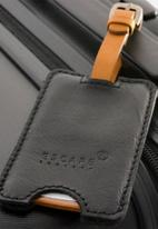 Escape Society - Peep-out leather luggage tag - black