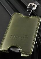 Escape Society - Peep-out leather luggage tag - olive green
