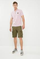 Jack & Jones - Atlas zip stripe polo - pink & white