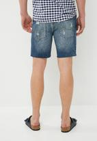 Jack & Jones - Rick denim cut off shorts - blue