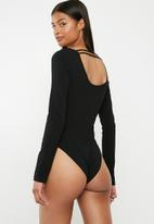 Superbalist - Long sleeve square neck bodysuit - black