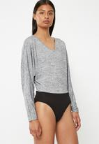 Superbalist - Cut and sew twofer bodysuit - grey