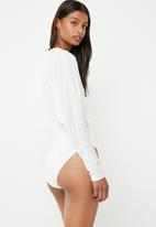 Superbalist - Cut and sew twofer bodysuit - white