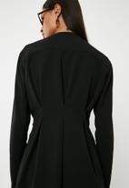 Superbalist - Short wrap dress with pleat detail - black