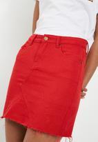 Superbalist - Denim A-line mini skirt - red