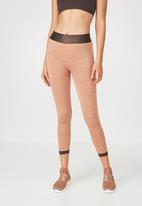 Cotton On - Jacquard mesh seamfree 7/8 tights - orange