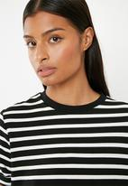 Superbalist - Stripe T-shirt dress - black and white