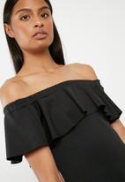 Superbalist - Bardot ruffle bodycon dress - black