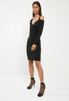Superbalist - Cold shoulder wrap front bodycon dress - black