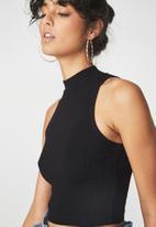Cotton On - Maxine sleeveless mock neck tank - black