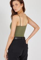 Supré  - Square neck bodysuit - light khaki