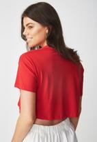 Supré  - Printed loose crop tee - red