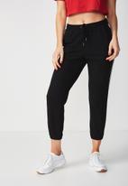 Supré  - Basic side stripe track pant - black