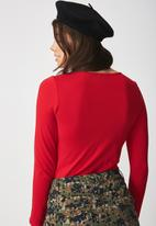 Supré  - Long sleeve scoop neck top - red
