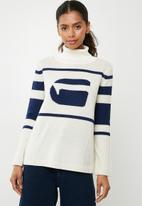 G-Star RAW - Cyeil turtle neck knit - cream & navy