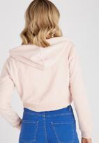 Supré  - Cropped zip through hoodie - pink