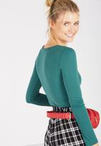 Supré  - Jacquard long sleeve fitted top - teal