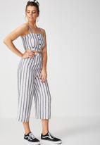 Supré  - Crop wide leg pant - white & grey