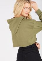 Supré  - Raw slouch zip thru hoodie - khaki