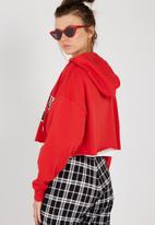 Supré  - Raw slouch zip thru hoodie - red
