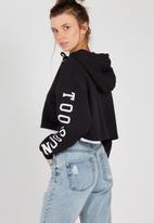 Supré  - Raw slouch zip thru hoodie - black