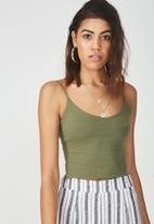 Supré  - Hayley neck cropped top - light khaki