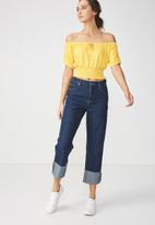 Cotton On - Vicki tie front top - yellow