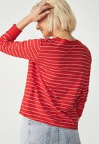Cotton On - Tbar Tammy chopped graphic long sleeve tee - red & white