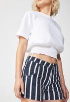 Cotton On - Pocket chino short - navy & white