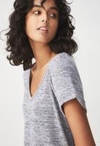 Cotton On - Short sleeve v neck top - grey