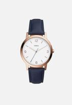 Fossil - Blake leather - navy & rose gold